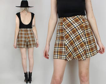 70s Plaid Skort, High Waisted Mini Skirt with Shorts, Size Medium, Brown, 60s, Vintage, School Uniform,