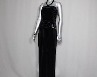 Times Up LBD Black Velvet Strapless Tube Top Angelina Leg Formal Dress Proms/Parties
