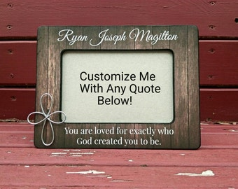Personalized First Communion Gift | Personalized Baptism Frame | Custom Quote Picture Frame