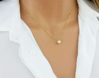Pearl Necklace, Pearl Drop Necklace, Bridesmaid Gift, June BirthstoneSterling Silver, Delicate Gold, Minimalist Jewelry, Gift For Her