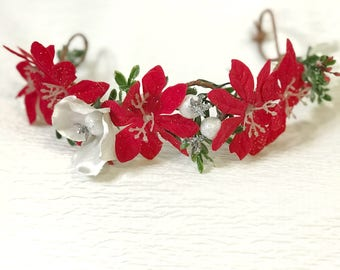 Christmas queen, flower crown, holiday princess, Christmas flower crown , red flower crown, holiday flower crown