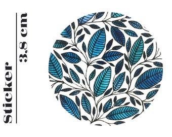 Round Sticker Floral Leaf Illustration 3,8 cm (P01 019)