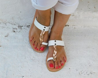Leather Sandals, Comfortable sandals, Gold sandals, White sandals, BOHO sandals, Beach sandals, Summer sandals, flat leather sandals