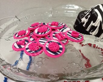 CIRCLE ZEBRA TOPPERS - hot pink fondant circles with zebra edible image and flower or letter on top. Weddings, birthdays, girls, showers