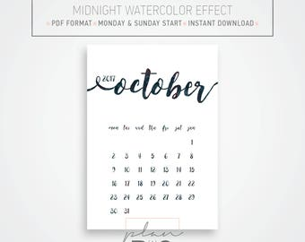 2017 - 2018 Printable Wall Calendar, Wall planner, A4 Calendar, Midnight watercolor, Minimal calendar, Instant download