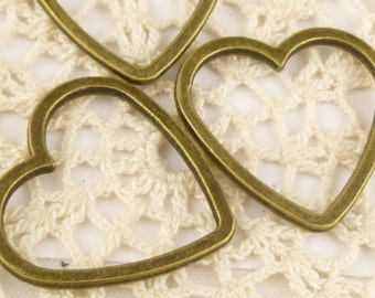 24mm Solid  Heart  Ring Connector Link, Antiqued Bronze (6) - BF4