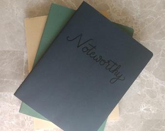 Custom Moleskine, personalized journal, hand lettered cover, embossed