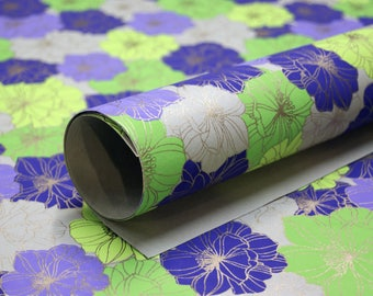 Flower print handmade Wrapping Paper gift wrap set of two large sheets grey purple green gold