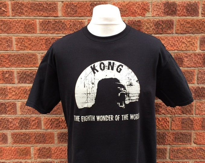 Kong! Hand screen printed horror movie t shirt, horror t shirt featuring the eighth wonder of the world, Nameless City Apparel horror shirt