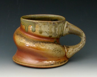 WOOD FIRED MUG #16 - Stoneware Mug - Coffee Mug - Ceramic Mug - Wood Fired Pottery - Woodfired Mug - Anagama Mug - Ash Glazed Mug