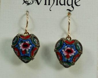 Italian Micro Mosaic Heart Earrings, Vintage Grand Tour Earrings, Victorian Flower Earrings, Italian Souvenir Earrings Under 25