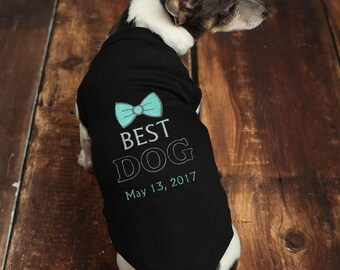 Dog Best Man Wedding Shirt - Custom Dog Wedding Clothes  - Best Dog - Wedding Dog Tee - Marriage Shirt -  Dog Tuxedo Shirt - Dog Proposal