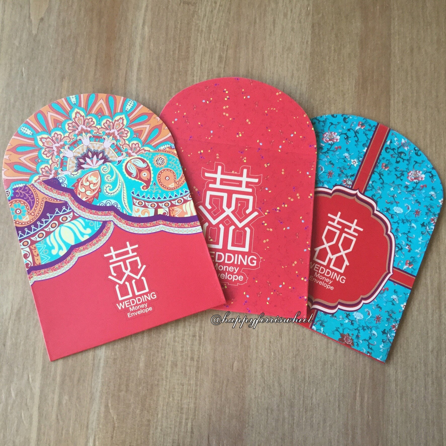 Square-shaped Wedding Money Envelopes Traditional Chinese