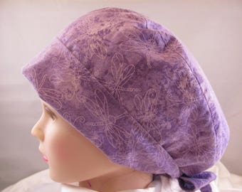 Women's Pixie Scrub Hat Purple Dragonflies