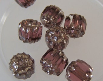 Lovely Amethyst and Silver Faceted Cathedral Czech 6mm Beads