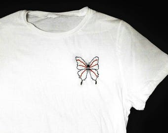White embroidered butterfly T-shirt