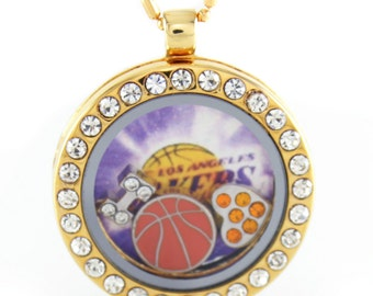 Gold Rhinestone Circle Floating Locket w/ Choice of 6 Charms