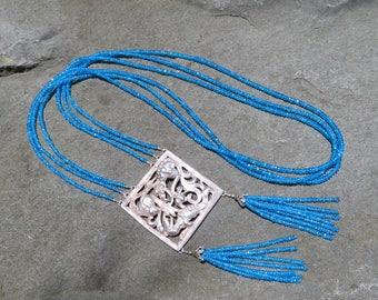 Tassel Necklace,Vintage Peruzzi Repurposed Brooch,Gemstone Necklace,Repurposed Jewelry,Neon Apatite Multi Strand Necklace,Apatite Nceklace