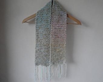 girls sparkly scarf, pastel blue muffler, childs neck-warmer, tassel scarf, blue-gold scarf, chunky knit tippet, girls gift, winter warmer