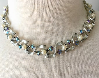 Vintage Brushed Silver Tone AB Aurora Borealis Rhinestone & Faux Pearl Special Occasion Adjustable Choker Necklace
