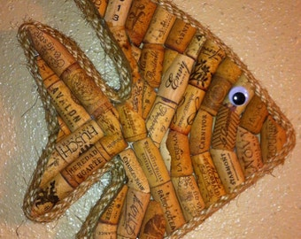 Tropical Fish wall hanging made with real wine corks