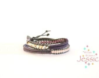 Leather bracelet, Gray leather, Bohemian bracelet, Leather woman bracelet, Leather cord, Beads wrap bracelet, Wrap bracelet, Leather, Lilac