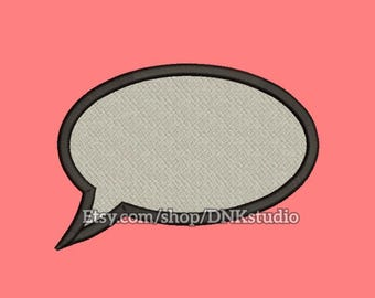 Bubble Speech Talk Embroidery Design - 5 Sizes - INSTANT DOWNLOAD