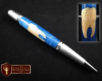 Handmade wood pen with Dental Tooth inlay