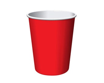 RED PAPER CUPS (Set of 8) - Red Paper Cups (266ml / 9oz)