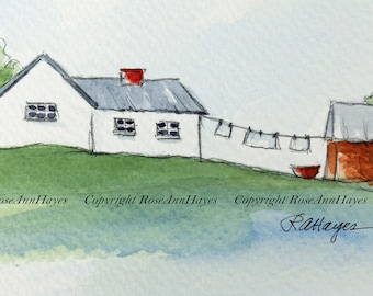 Laundry Day in the Country Laundry Room Art Original Watercolor Painting Clothesline Cottage Landscape