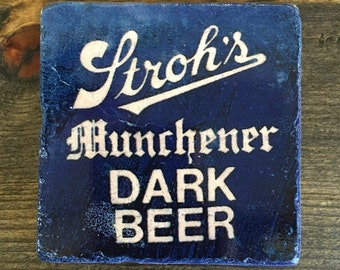 Stroh's Detroit Munchener Dark Beer, Coaster with cork backing
