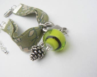 Green liberty bracelet with Lampwork Glass Bead