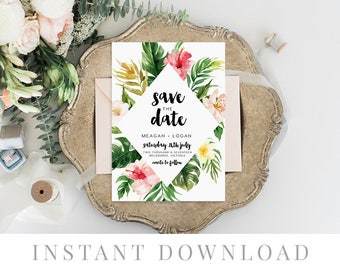Save the Date INSTANT DOWNLOAD, Wedding Invite, DIY Printable Save the Date, Templett, Editable pdf, Rustic Invites, Colorful, Tropical