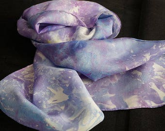 clothing, gifts,hand dyed silk scarf, ice-dyed silk scarf, hand dyed scarf, 100%,silk scarf, scarf, scarves, ladies  scarf,neck scarf