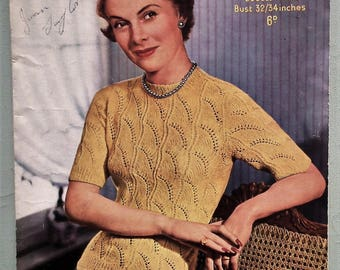 "Vintage 40s 50s Knitting Pattern Women's Sweater Jumper Top - lacy design - 1940s 1950s original pattern - Sirdar No. 1325 UK - 32"" 34"" bust"