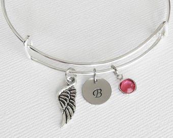 Angel Wing Bracelet, Angel Wing Bangle, Initial Silver Bangle, Personalized, Expandable, Charm Bracelet, Swarovski Birthstone Bracelet