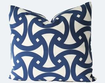 Decorative Designer Trina Turk Santorini, Schumacher Navy Blue Outdoor Pillow, 18x18 20x20 22x22 or Lumbar Throw Pillow