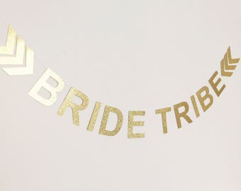 Bride tribe arrows banner in gold glitter - hens night, bachelorette