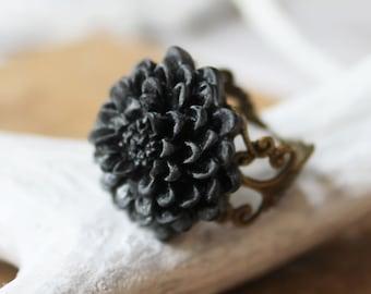 Black Statement Ring - Mum Ring - Flower Jewelry - Shabby Chic Jewelry - Bridesmaid Jewelry - Hippie Ring - Boho Jewelry - Filigree Ring