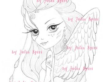 Digital stamps, Angel Digi, Fantasy, Angels, Mask, Wings, Big Eyes, Cute, Coloring pages, Paper crafting, Cardmaking. Angelique Angel
