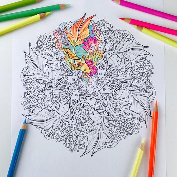 Mandala coloriage poisson rouge page coloriages pour adultes - Coloriage poisson rouge ...