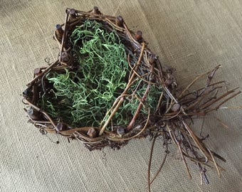 Wedding rustic Heart nest/ rustic nest/ heart shaped nest/ wedding nest/ ring nest/ wedding ring holder/ring bearer nest/rustic wedding nest