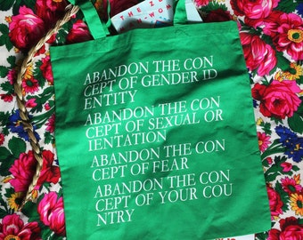 Abandon The Con-cept Tote Bag.