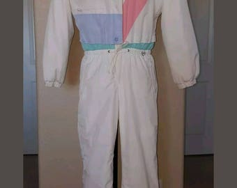 Vintage Obermeyer Goretex Sphere Snow Ski Suit Size 8 White Pastel Pink Green