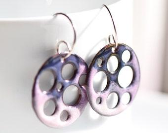 Purple Earrings, Copper Enamel, Pink and Purple, Earrings Handmade, Sterling Silver Ear Wires, Gift for Women, Artsy Earrings