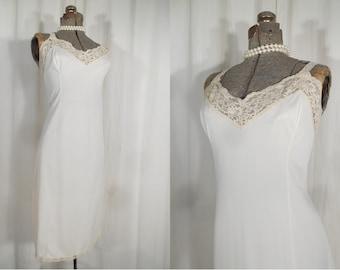 Vintage 1960s Slip - XL White Slip, Plus Size Lingerie, Long White Lace Full Slip