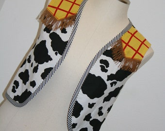 Woody or Jessie western style vest is perfect for Toy Story fans of all ages cow print yellow with red trim by Tinkerella Creations