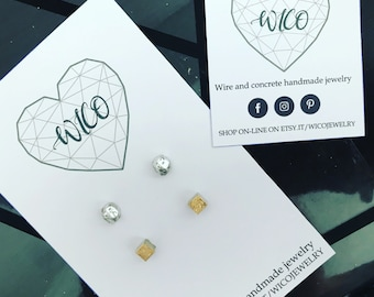 Concrete Gold Silver Foil earrings