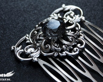 Wedding Hair Comb - Bridal Hair Piece with Custom Color Gem - Victorian Jewelry