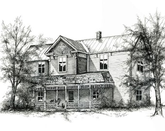 """Homestead, Link, Victorian, Gingerbread, Ornate, Pop, Pen & Ink, """"Waiting For Pop"""" (Reproduction)"""